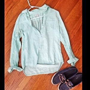 Teal & white striped button up shirt